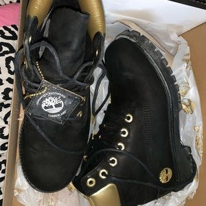 Limited edition black and gold Timberland boots.